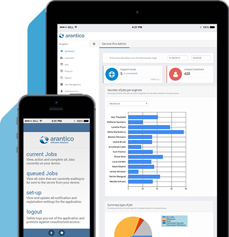 Arantico job scheduling and field service application for mobile workforce management.